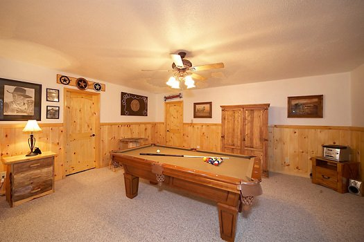Game room with pool table at True Grit, a 5 bedroom cabin rental located in Pigeon Forge