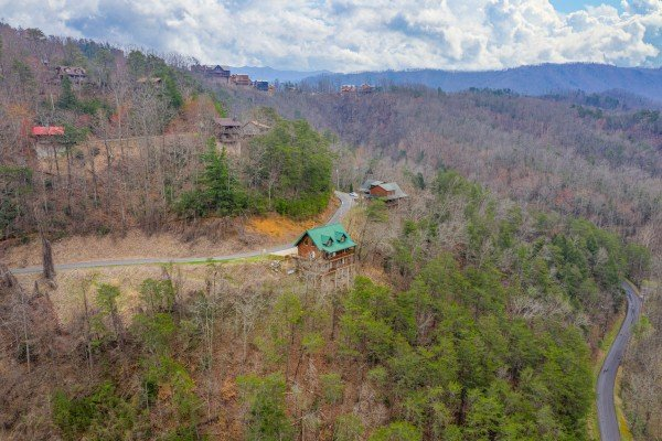Drone shot at Smoky Mountain Escape, a 3 bedroom cabin rental located in Pigeon Forge