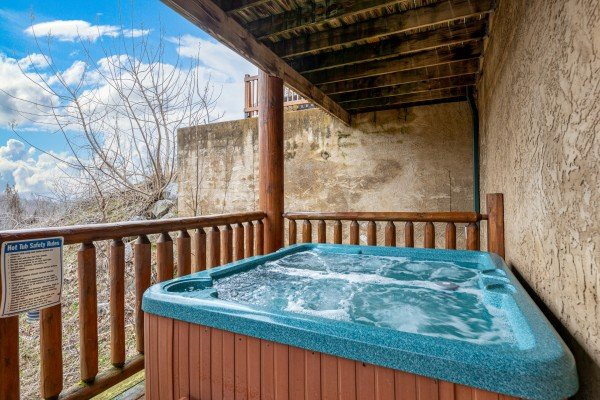 Hot tub at Smoky Mountain Escape, a 3 bedroom cabin rental located in Pigeon Forge
