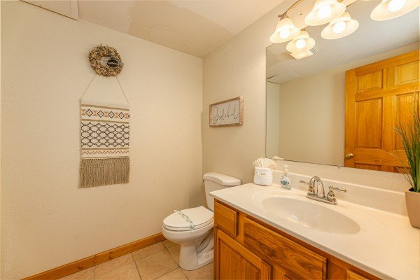 Bathroom at Smoky Mountain Escape, a 3 bedroom cabin rental located in Pigeon Forge