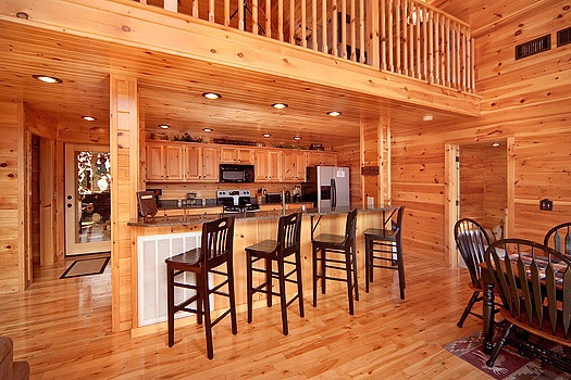 breakfast bar at rainbow's end a 4 bedroom cabin rental located in pigeon forge