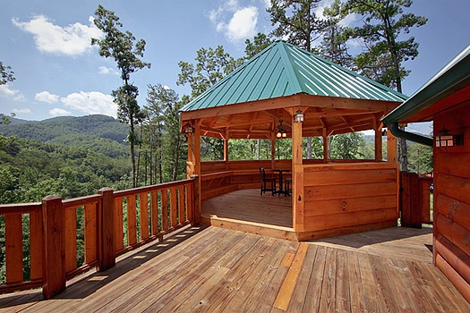 Front deck with gazebo at Rainbow's End, a 4 bedroom cabin rental located in Pigeon Forge