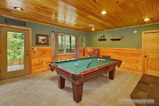 game room with pool table at rainbow's end a 4 bedroom cabin rental located in pigeon forge