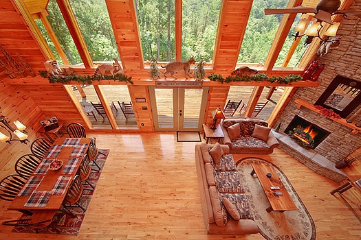 overhead view living area at rainbow's end a 4 bedroom cabin rental located in pigeon forge
