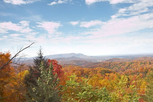 Mountain view in the fall at The Original American Dream, a 2 bedroom cabin rental located in Gatlinburg