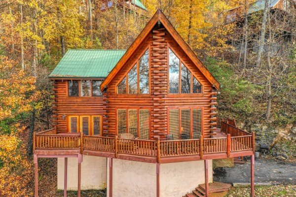 Front exterior view of The Original American Dream, a 2 bedroom cabin rental located in Gatlinburg