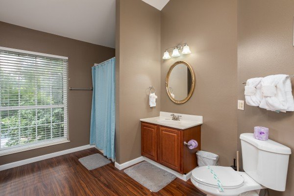 Main bathroom at Gatlinburg Movie Mansion, a 5-bedroom cabin rental located in Gatlinburg