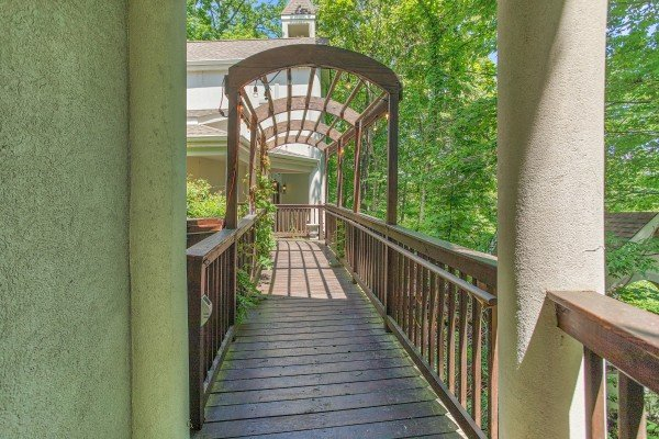 Lattice walkway at Gatlinburg Movie Mansion, a 5-bedroom cabin rental located in Gatlinburg