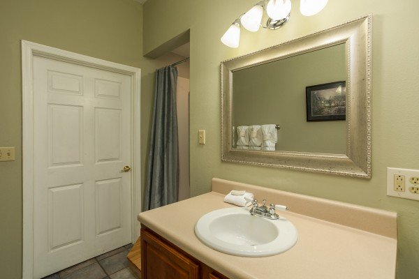Third bathroom at Gatlinburg Movie Mansion, a 5-bedroom cabin rental located in Gatlinburg