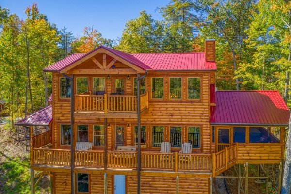 Looking back at the cabin at Panorama, a 2 bedroom cabin rental located in Pigeon Forge