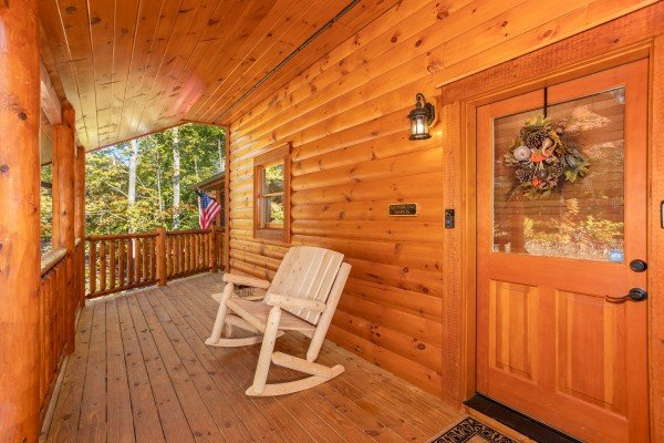 Front porch with rocking chair at Panorama, a 2 bedroom cabin rental located in Pigeon Forge