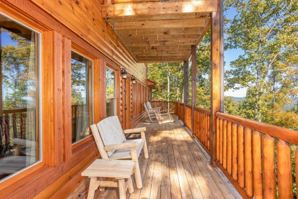 Deck and swing at Panorama, a 2 bedroom cabin rental located in Pigeon Forge