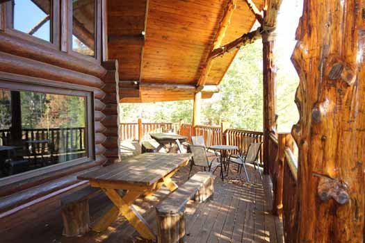 outside main level deck at waters edge lodge a 4 bedroom cabin rental located in gatlinburg