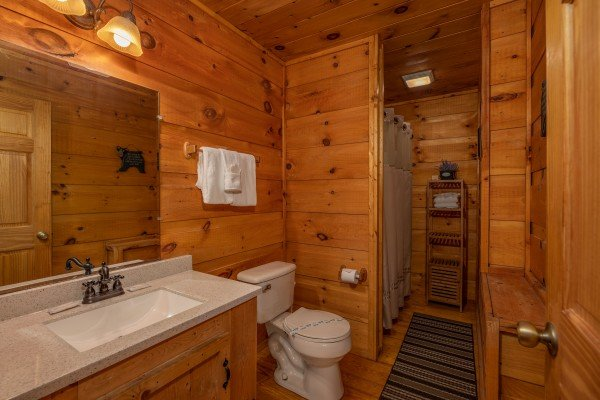 Bathroom at Honey Bear Hideaway, a 1 bedroom cabin rental located in Pigeon Forge