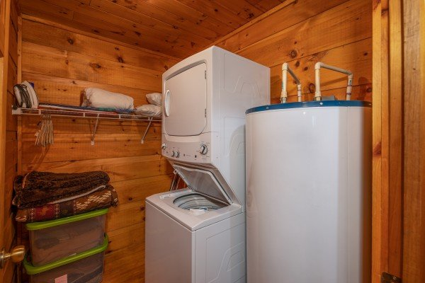Laundry at Honey Bear Hideaway, a 1 bedroom cabin rental located in Pigeon Forge