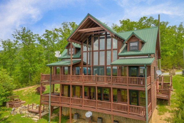 Exterior rear view drone shot at Mountain Bliss, a 2 bedroom cabin rental located in Pigeon Forge