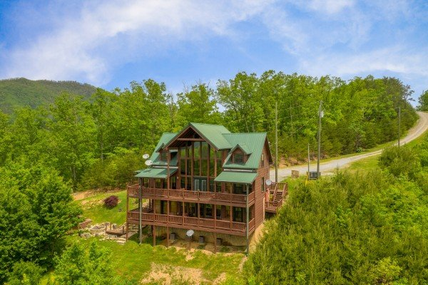 Drone exterior view at Mountain Bliss, a 2 bedroom cabin rental located in Pigeon Forge