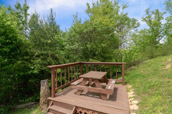 Picnic table at Mountain Bliss, a 2 bedroom cabin rental located in Pigeon Forge