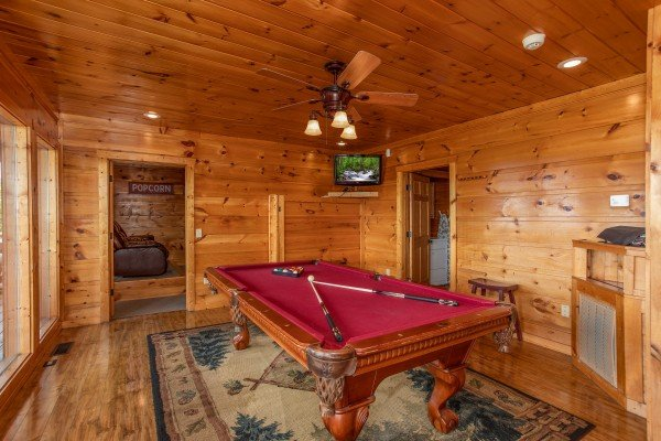 Pool table at Mountain Bliss, a 2 bedroom cabin rental located in Pigeon Forge