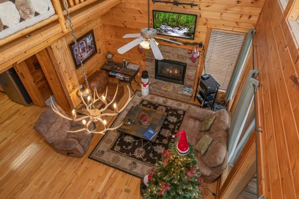 Aerial living room view at 1 Awesome View, a 3 bedroom rental cabin in Pigeon Forge