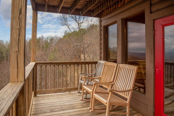 Deck benches at 1 Awesome View, a 3 bedroom cabin rental located in Pigeon Forge