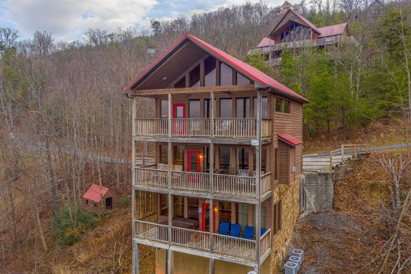 Wintertime drone exterior shot at 1 Awesome View, a 3 bedroom rental cabin in Pigeon Forge