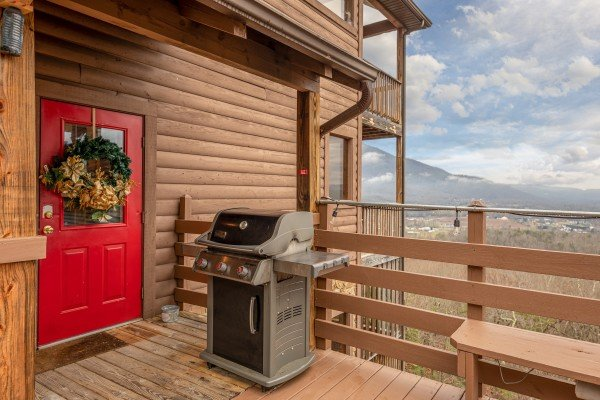 Gas grill on the deck at 1 Awesome View, a 3 bedroom rental cabin in Pigeon Forge