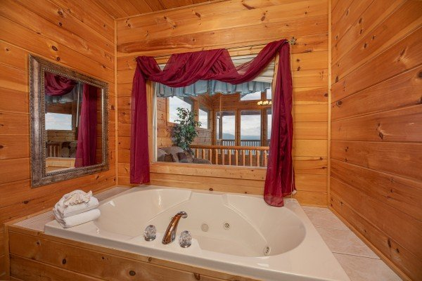Jacuzzi at 1 Awesome View, a 3 bedroom rental cabin in Pigeon Forge