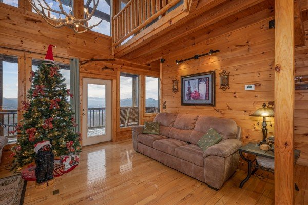 Living room with sofa at 1 Awesome View, a 3 bedroom cabin rental located in Pigeon Forge