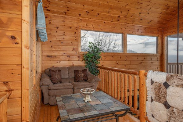 Loft seating at 1 Awesome View, a 3 bedroom rental cabin in Pigeon Forge