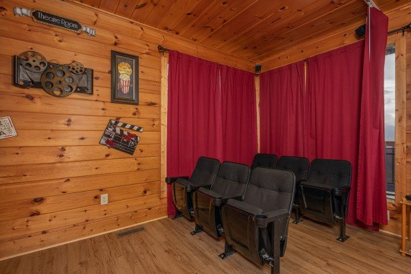 Theater seats at 1 Awesome View, a 3 bedroom rental cabin in Pigeon Forge