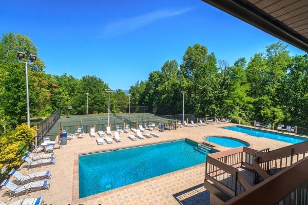 Pool access for guests at Wild at Heart, a 1 bedroom cabin rental located in Gatlinburg