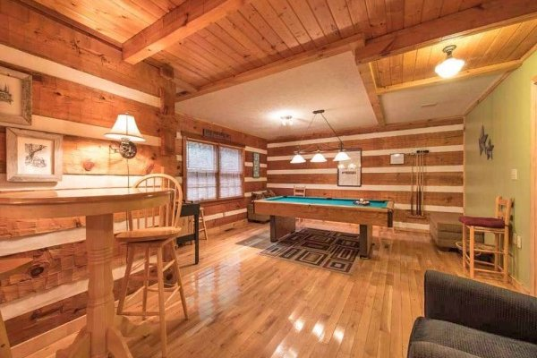 Game room with pool table at Wild at Heart, a 1 bedroom cabin rental located in Gatlinburg