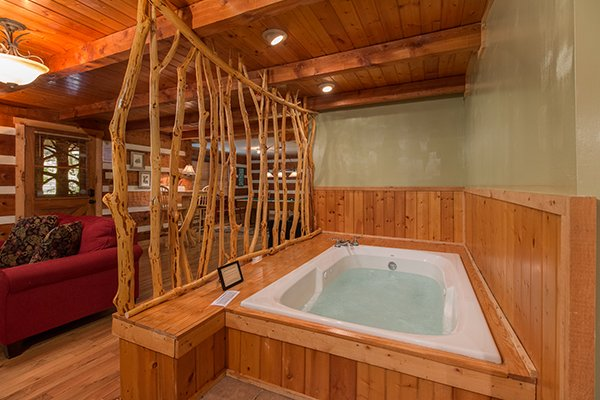 Jacuzzi tub in the living room at Wild at Heart, a 1 bedroom cabin rental located in Gatlinburg