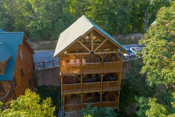 Looking down at the cabin at Rocky Top Retreat, a 2 bedroom cabin rental located in Pigeon Forge