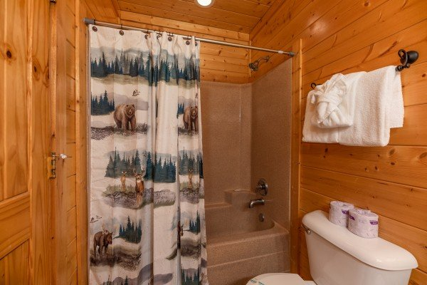 Tub and shower at Rocky Top Retreat, a 2 bedroom cabin rental located in Pigeon Forge