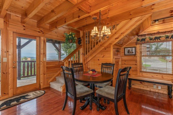 Dining table for 4 at 1 Above the Smokies, a 2 bedroom cabin rental located in Pigeon Forge