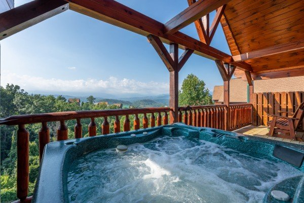 Hot tub and mountain views at 1 Above the Smokies, a 2 bedroom cabin rental located in Pigeon Forge