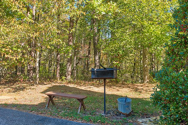 Grilling area at Living on Love, a 2 bedroom cabin rental located in Pigeon Forge