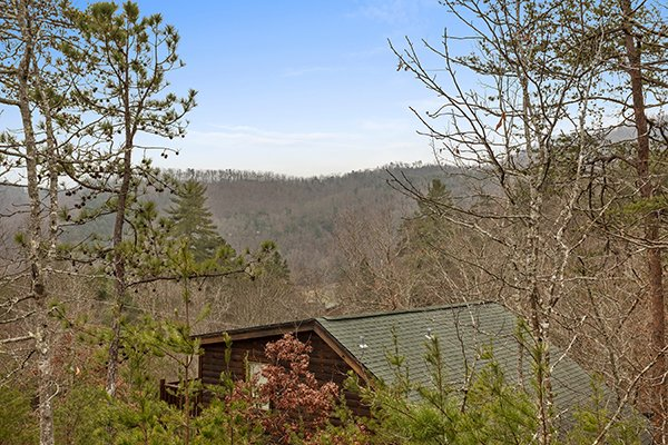 Winter views at Rising Wolf Lodge, a 3 bedroom cabin rental located in Pigeon Forge
