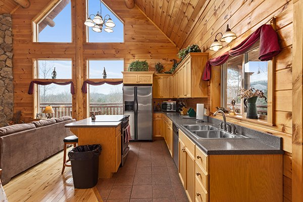 Kitchen at Rising Wolf Lodge, a 3 bedroom cabin rental located in Pigeon Forge
