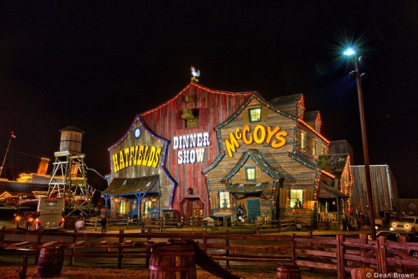 Hatfield and McCoy Dinner Show is near Fishin' & Wishin', a 1-bedroom cabin rental located in Sevierville