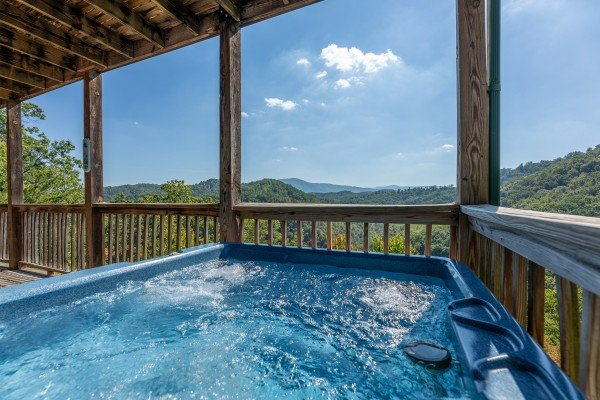 Mountain view from the hot tub at A Perfect Getaway, a 3 bedroom cabin rental located in Pigeon Forge