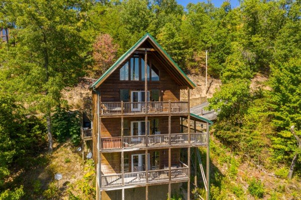 Exterior drone view at A Perfect Getaway, a 3 bedroom cabin rental located in Pigeon Forge
