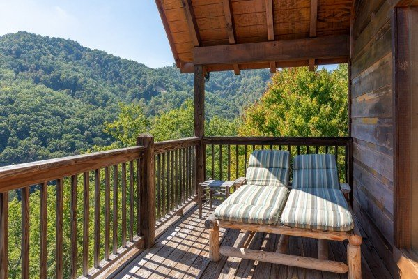 Chaise lounge chairs at A Perfect Getaway, a 3 bedroom cabin rental located in Pigeon Forge