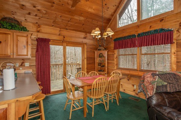 Dining table for six at Sweet Mountain Escape, a 2 bedroom cabin rental located in Pigeon Forge