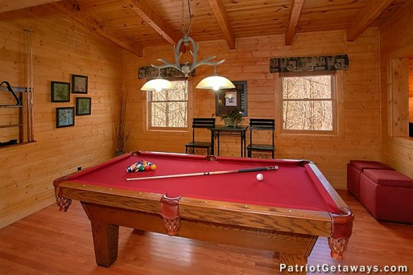 Pool table at Stags Leap, a 2 bedroom cabin rental located in Pigeon Forge