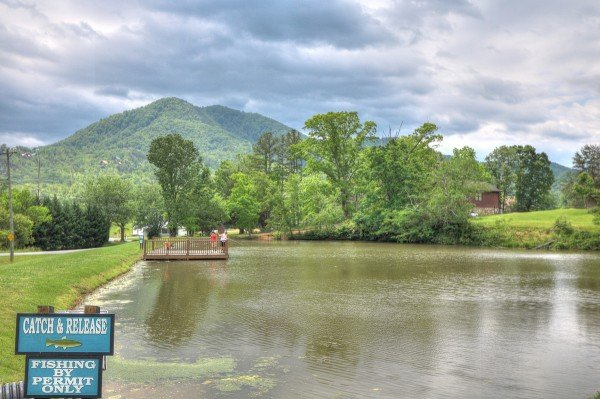 Fishing pond for guests at Honeysuckle Hideaway, a 1 bedroom cabin rental located in Pigeon Forge
