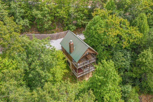 Drone view at Honeysuckle Hideaway, a 1 bedroom cabin rental located in Pigeon Forge