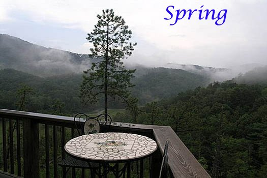 smoky mountains spring time view at r & r hideaway a 1 bedroom cabin rental located in pigeon forge
